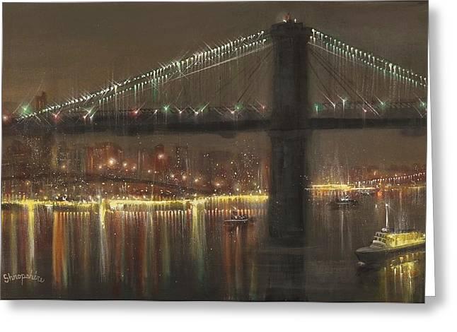 Brooklyn Bridge Cruciform Greeting Card by Tom Shropshire