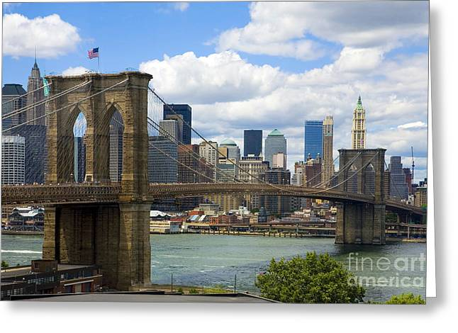 Famous Greeting Cards - Brooklyn Bridge Greeting Card by Diane Diederich
