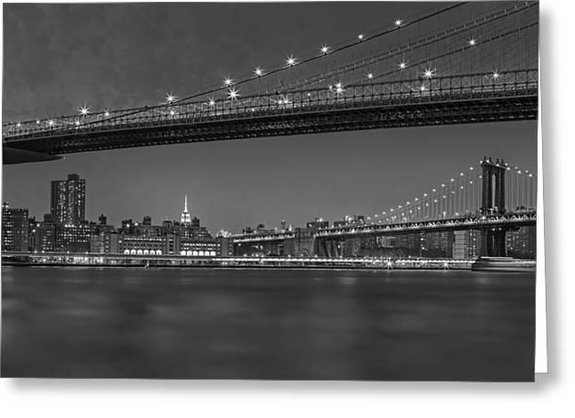 Usa Greeting Cards - Brooklyn Bridge Frames Manhattan BW Greeting Card by Susan Candelario