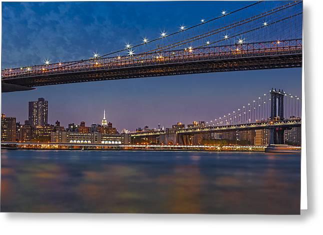Brooklyn Bridge Frames Manhattan Greeting Card by Susan Candelario