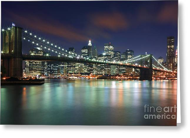 Acryl Greeting Cards - Brooklyn Bridge Greeting Card by Henk Meijer Photography