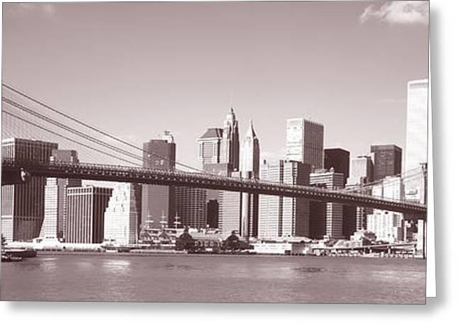 Brooklyn Bridge, Hudson River, Nyc, New Greeting Card by Panoramic Images