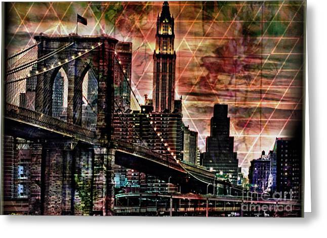Brooklyn Bridge Mixed Media Greeting Cards - Brooklyn Bridge II Greeting Card by Christine Mayfield