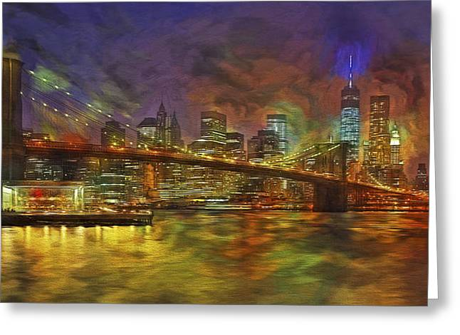 Night-scape Greeting Cards - Brooklyn Bridge Impressionism Greeting Card by Susan Candelario