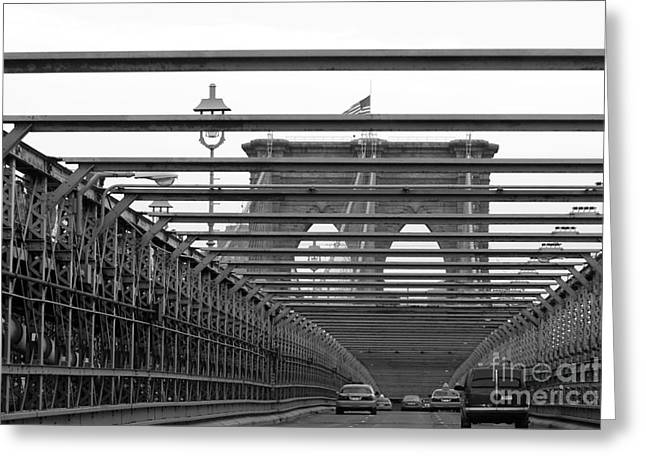 Brooklyn Bridge Mixed Media Greeting Cards - Brooklyn Bridge Black and White Photography Greeting Card by Anahi DeCanio - ArtyZen Studios