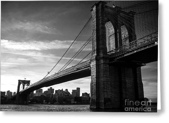 Historic Home Greeting Cards - Brooklyn Bridge in Black and White Greeting Card by James Aiken
