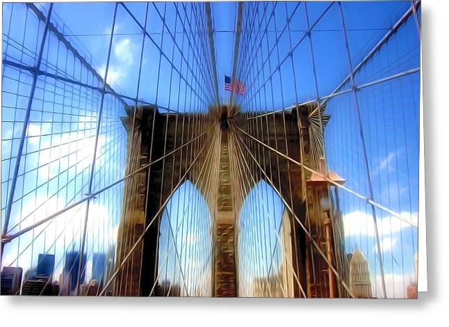 View Greeting Cards - Brooklyn Bridge in New York Greeting Card by Lanjee Chee
