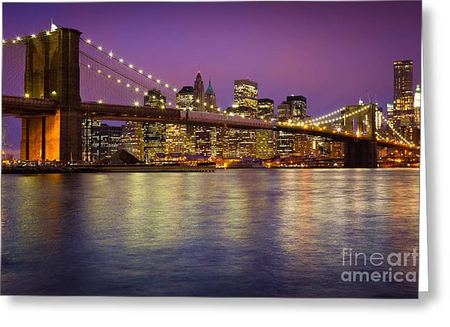 Evening Lights Greeting Cards - Brooklyn Bridge Greeting Card by Inge Johnsson