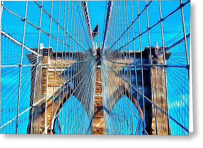 Bauwerk Greeting Cards - Brooklyn Bridge Greeting Card by Jeff Stein