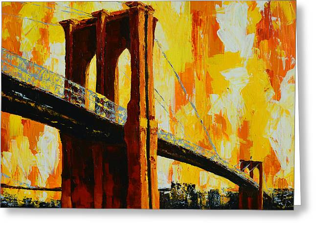 Colossal Greeting Cards - Brooklyn Bridge Landmark Greeting Card by Patricia Awapara