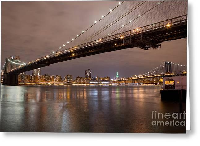 Leslie Leda Greeting Cards - Brooklyn Bridge Lights Greeting Card by Leslie Leda