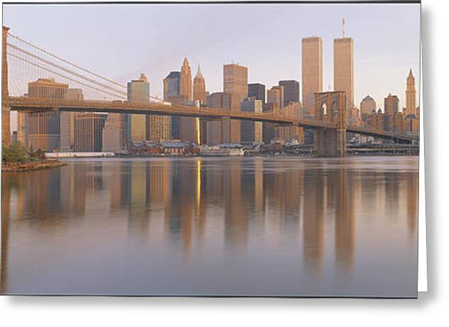 Reflecting Water Greeting Cards - Brooklyn Bridge Manhattan New York City Greeting Card by Panoramic Images