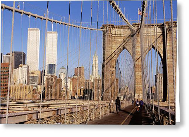 City Buildings Greeting Cards - Brooklyn Bridge Manhattan New York Ny Greeting Card by Panoramic Images