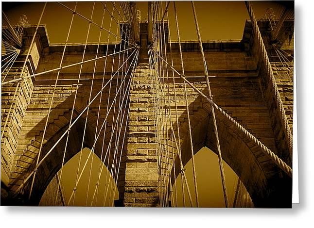 Brooklyn Bridge Greeting Card by Monique Wegmueller