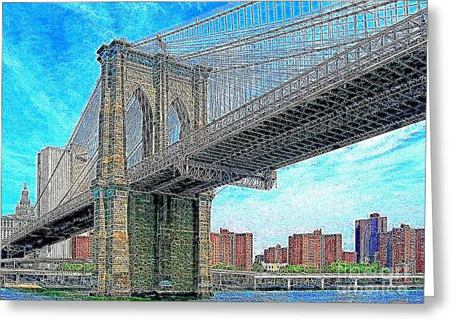 New York Newyork Digital Greeting Cards - Brooklyn Bridge New York 20130426 Greeting Card by Wingsdomain Art and Photography