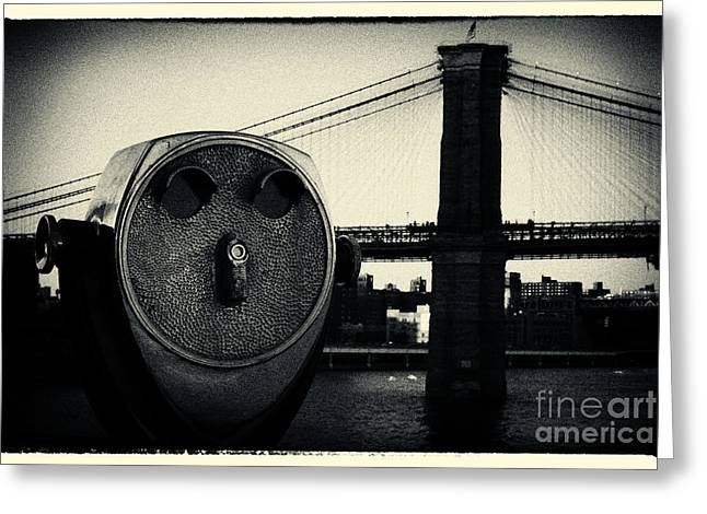 Filmnoir Greeting Cards - Brooklyn Bridge New York City Greeting Card by Sabine Jacobs