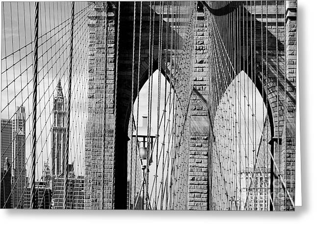 Nyc Cityscape Greeting Cards - Brooklyn Bridge New York City USA Greeting Card by Sabine Jacobs