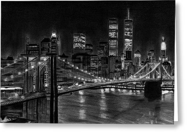 Skylines Drawings Greeting Cards - Brooklyn Bridge New York Greeting Card by David Rives