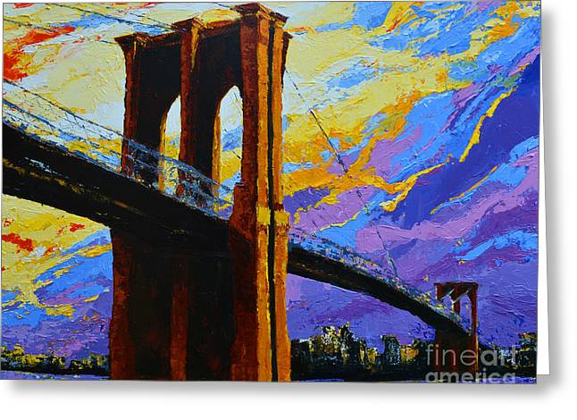 Colossal Greeting Cards - Brooklyn Bridge New York Landmark Greeting Card by Patricia Awapara