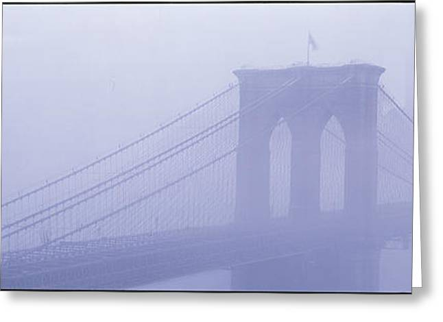 Misty Bridge Greeting Cards - Brooklyn Bridge New York Ny Greeting Card by Panoramic Images