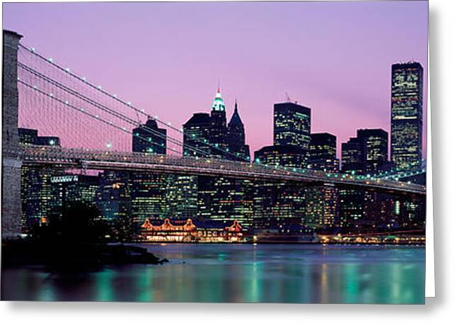 Brooklyn Bridge New York Ny Usa Greeting Card by Panoramic Images