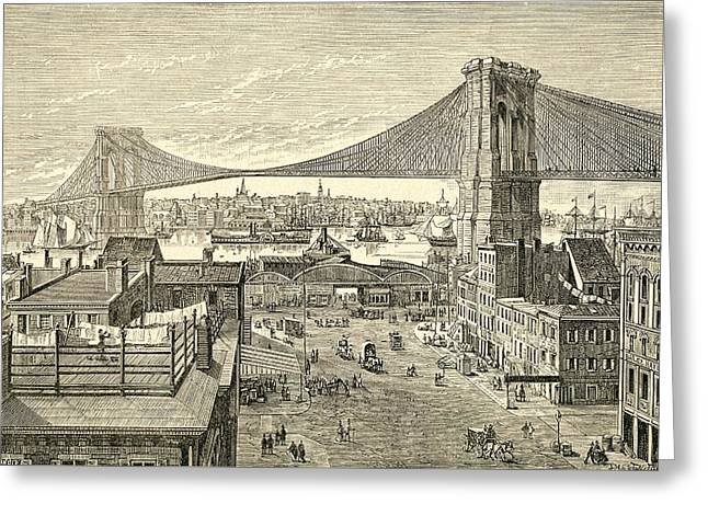 Brooklyn Bridge, New York, United States Of America In The 19th Century Greeting Card by American School