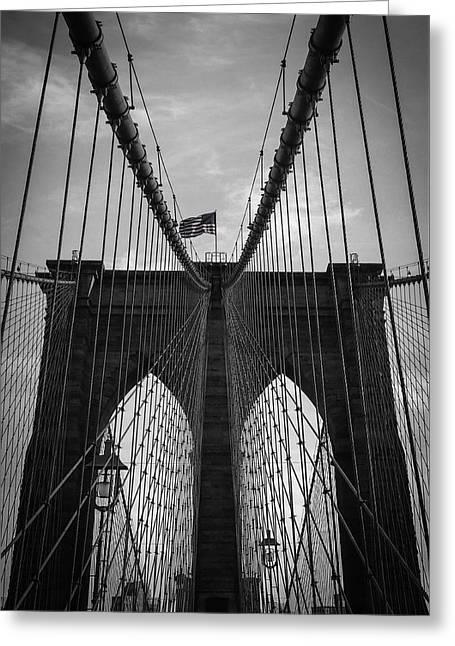 Manhattan Bridge Greeting Cards - Brooklyn Bridge Greeting Card by Nicklas Gustafsson