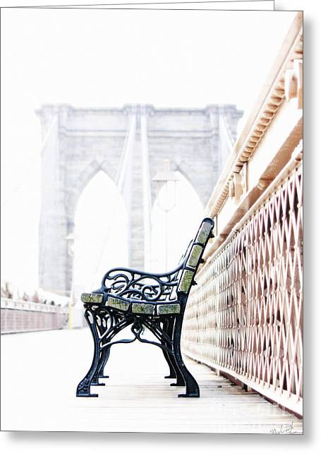 Recently Sold -  - Empty Chairs Greeting Cards - Brooklyn Bridge Greeting Card by Nishanth Gopinathan