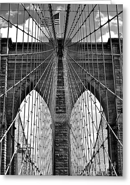 Consumerproduct Greeting Cards - Brooklyn Bridge New York City Greeting Card by Peter Dang