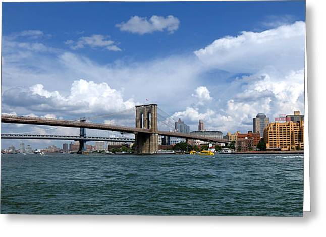 Landmark Photographs Greeting Cards - Brooklyn Bridge Panorama Greeting Card by Amy Cicconi