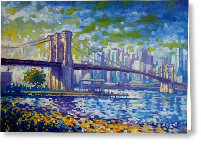 Impresssionism Greeting Cards - Brooklyn Bridge pm Greeting Card by Caleb Colon