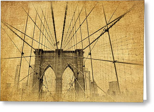Famous Bridge Greeting Cards - Brooklyn Bridge Postcard II Greeting Card by Jessica Jenney