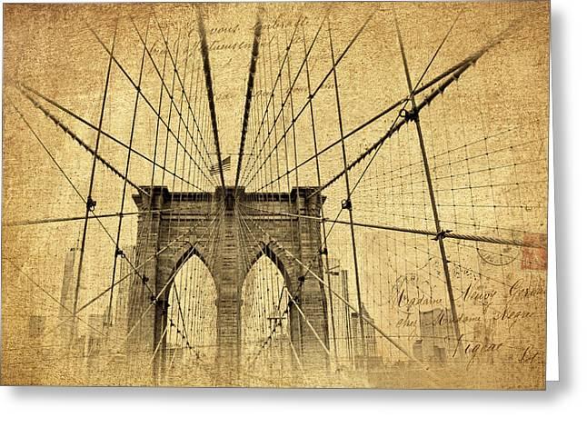 Famous Bridge Photographs Greeting Cards - Brooklyn Bridge Postcard Greeting Card by Jessica Jenney