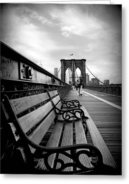 Bridge Greeting Cards - Brooklyn Bridge Promenade Greeting Card by Jessica Jenney