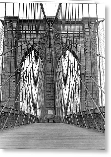 Brooklyn Bridge Promenade Greeting Card by Underwood Archives