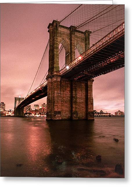 Wine Scene Greeting Cards - Brooklyn Bridge - Red morning Greeting Card by Gary Heller