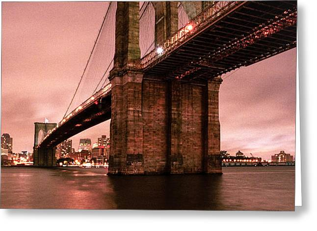Brooklyn Bridge - Red morning Greeting Card by Gary Heller