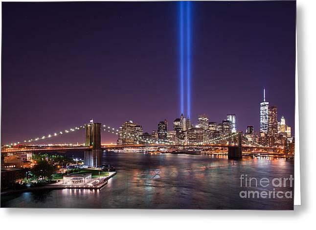 Manhatan Greeting Cards - Brooklyn Bridge September 11 version 2  Greeting Card by Michael Ver Sprill