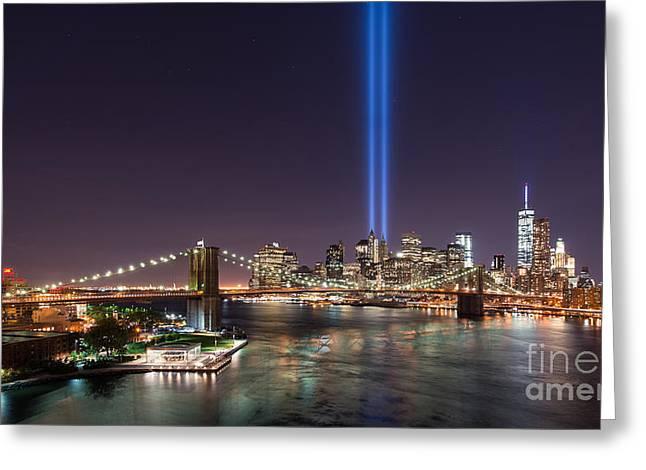 Manhatan Greeting Cards - Brooklyn Bridge September 11 wide crop Greeting Card by Michael Ver Sprill