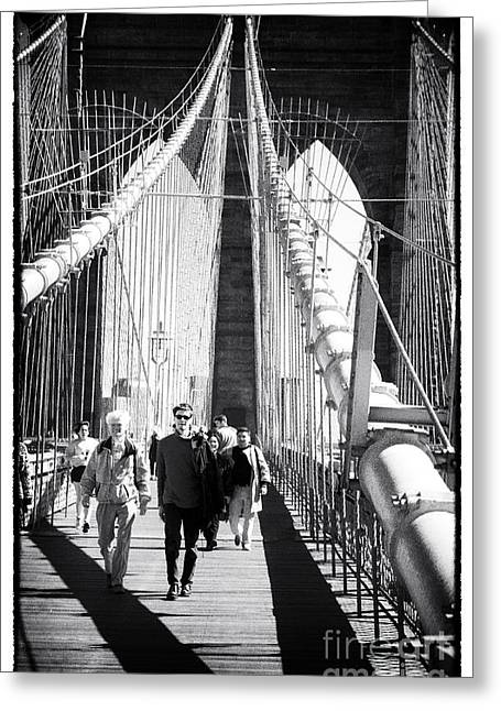 Brooklyn Bridge Shadows 1990s Greeting Card by John Rizzuto
