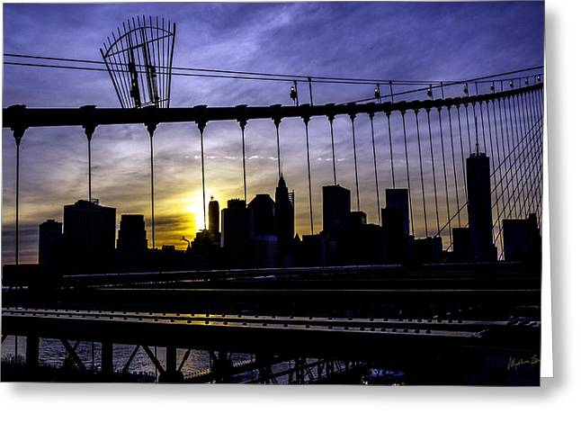 Ground Zero Greeting Cards - Brooklyn Bridge Silhouette Greeting Card by Madeline Ellis