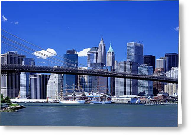 Warm Summer Greeting Cards - Brooklyn Bridge Skyline New York City Greeting Card by Panoramic Images