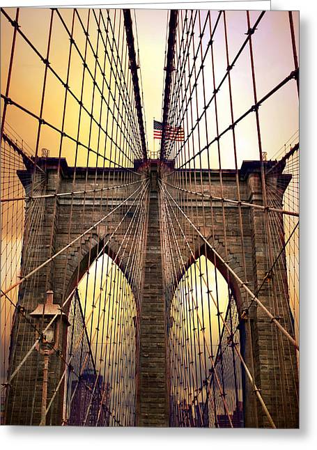 Bridge Greeting Cards - Brooklyn Bridge Sunrise Greeting Card by Jessica Jenney