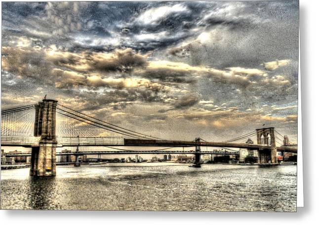 Mike Lindwasser Photography Greeting Cards - brooklyn Bridge sunset 24x30 Greeting Card by Mike Lindwasser Photography