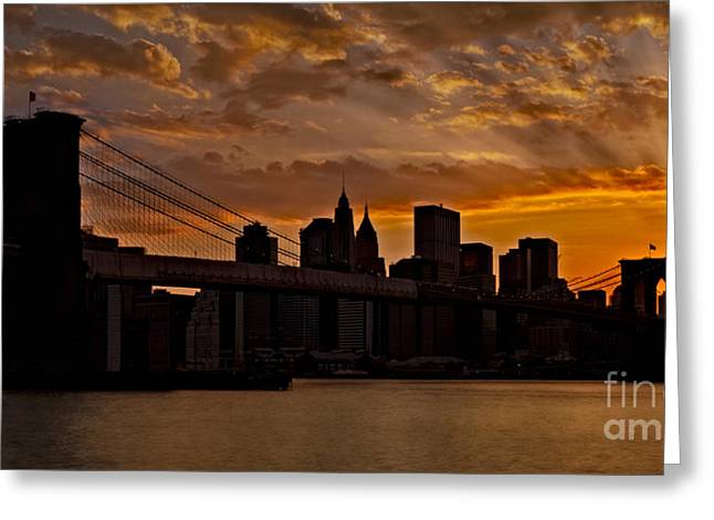Cityscapes Greeting Cards - Brooklyn Bridge Sunset Greeting Card by Susan Candelario