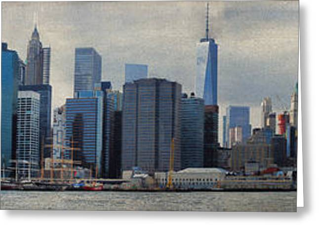 Glass Wall Greeting Cards - Brooklyn Bridge to Whitehall Terminal Greeting Card by Paulette B Wright
