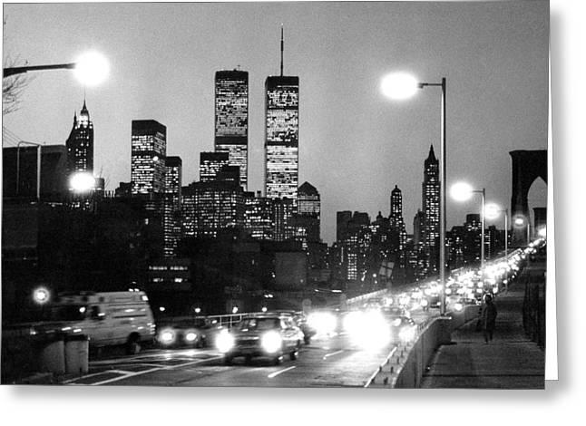 1980s Photographs Greeting Cards - Brooklyn Bridge traffic II dusk 1980s Greeting Card by Gary Eason