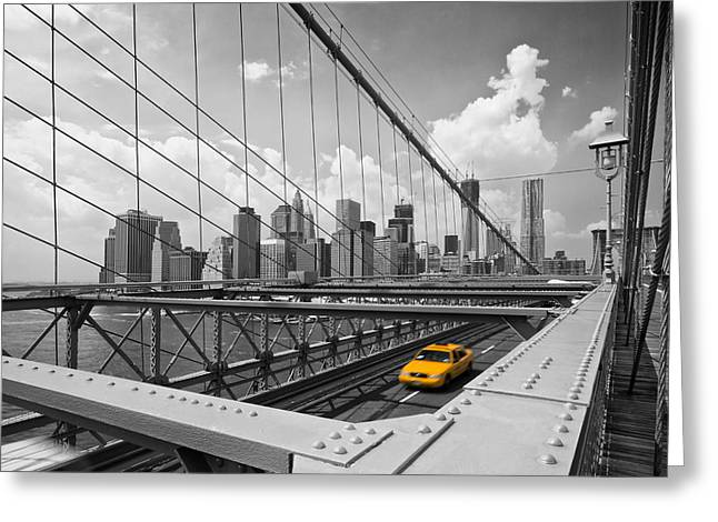 Colourkey Greeting Cards - Brooklyn Bridge View NYC Greeting Card by Melanie Viola