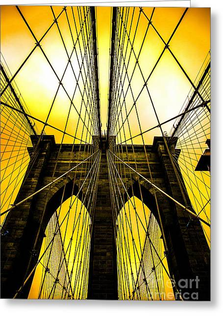 Looking Up Greeting Cards - Brooklyn Bridge Yellow Greeting Card by Az Jackson
