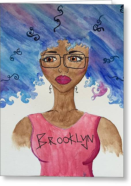 T Shirts Drawings Greeting Cards - Brooklyn Girl Greeting Card by Lorna Lowe